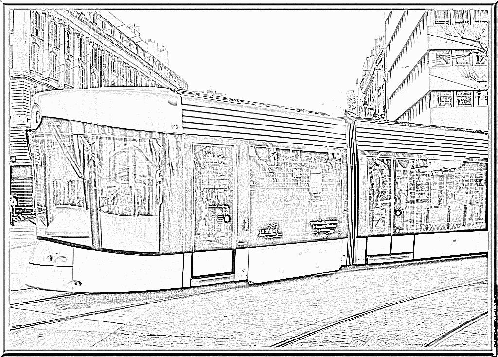 dessin à colorier tramway