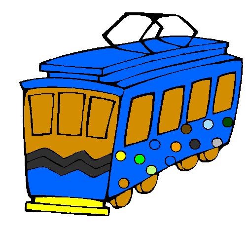 coloriage à dessiner tram