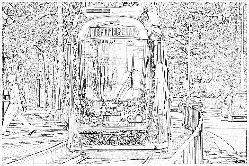 coloriage à dessiner tramway imprimer