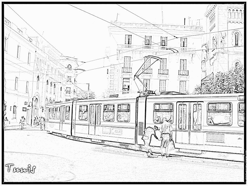 dessin à colorier de tram