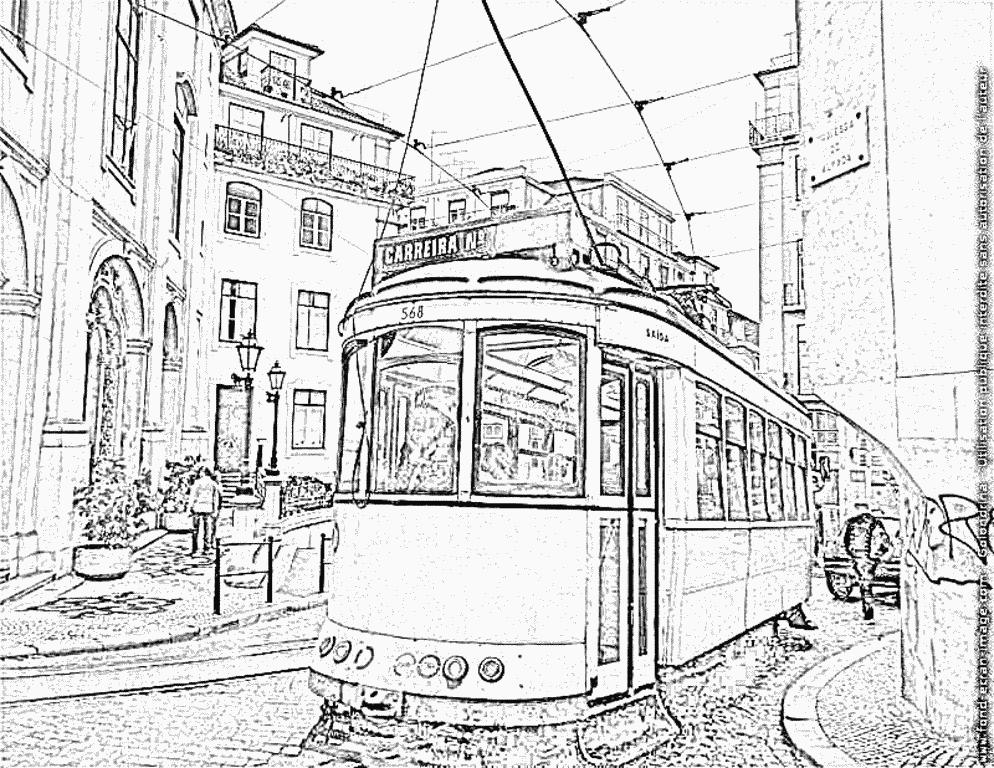 dessin à colorier tramway imprimer