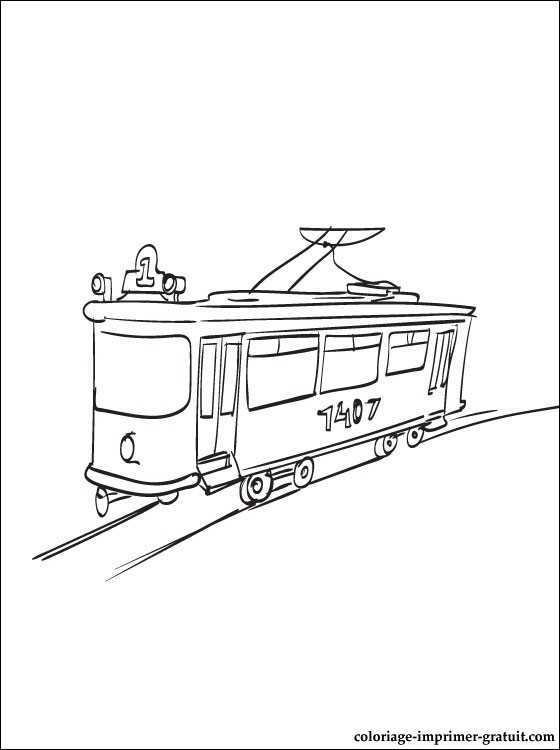 coloriage tramway