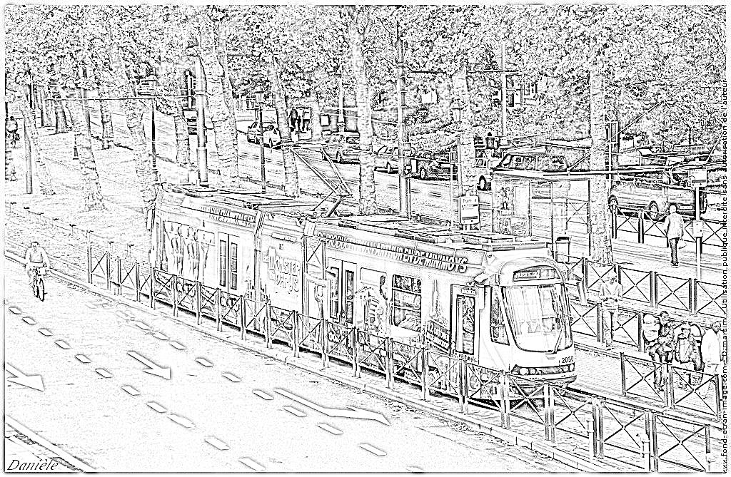 dessin à colorier tramway gratuit