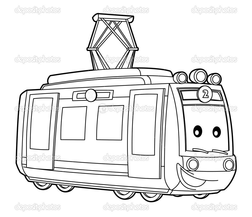 coloriage tramway à imprimer