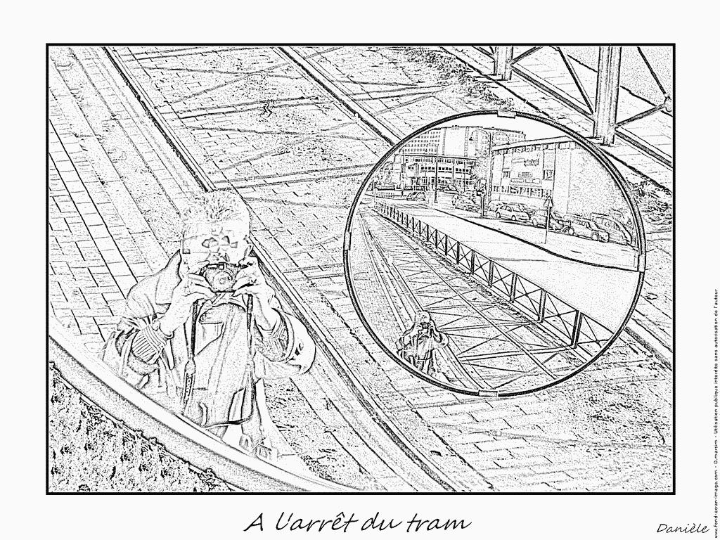 dessin à colorier en ligne tramway