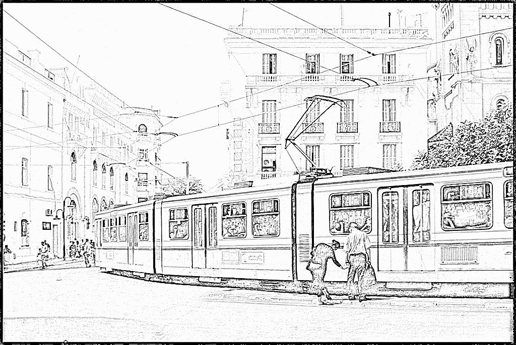 dessin tramway à imprimer