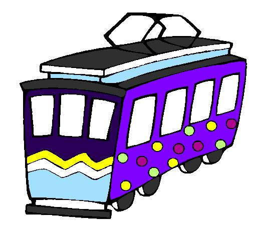 coloriage de tramway
