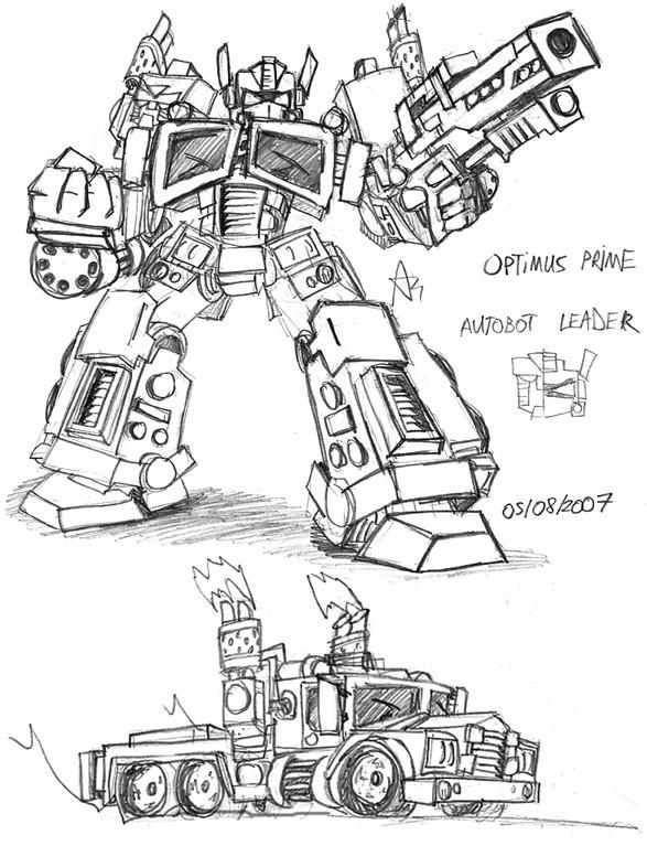 7 dessins de coloriage transformers prime imprimer - Optimus prime dessin ...