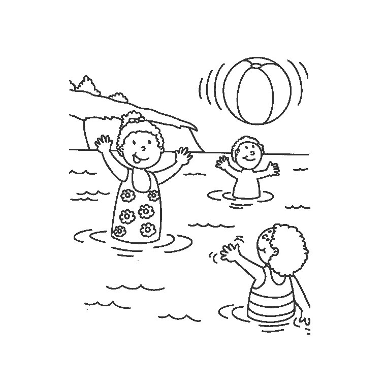 dessin à colorier mer et vacances