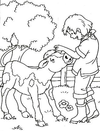 20 dessins de coloriage vache et veau imprimer - Coloriage campagne ...