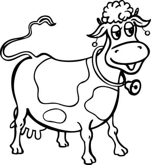 Image rigolote a colorier - Dessin vache facile ...