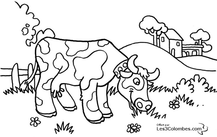 dessin vache tracteur