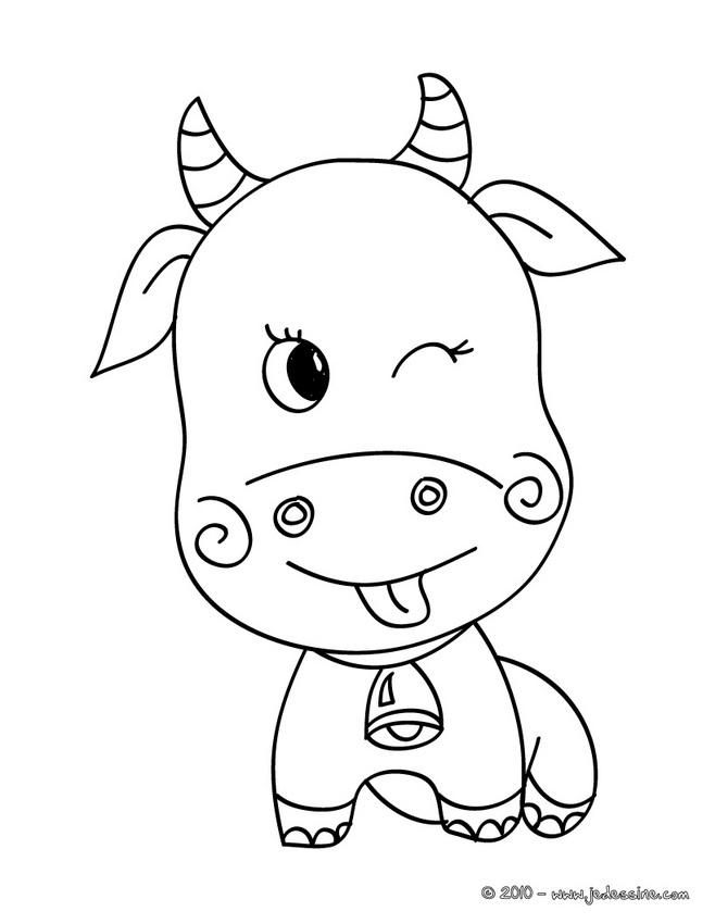 Coloriage de vache rigolote gratuit - Dessin d une vache ...