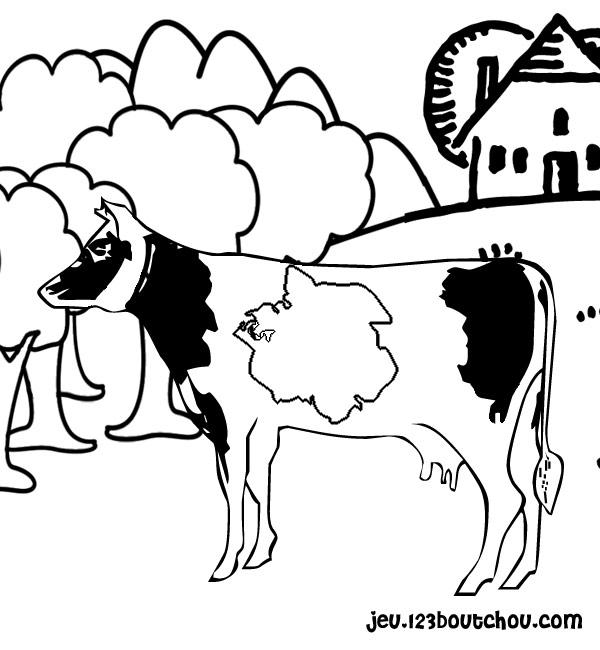 Dessin colorier d 39 une vache et son veau - Dessin d une vache ...
