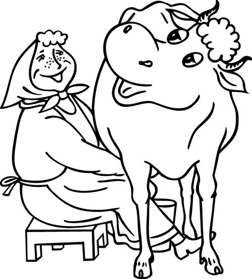 coloriage à dessiner troupeau vaches