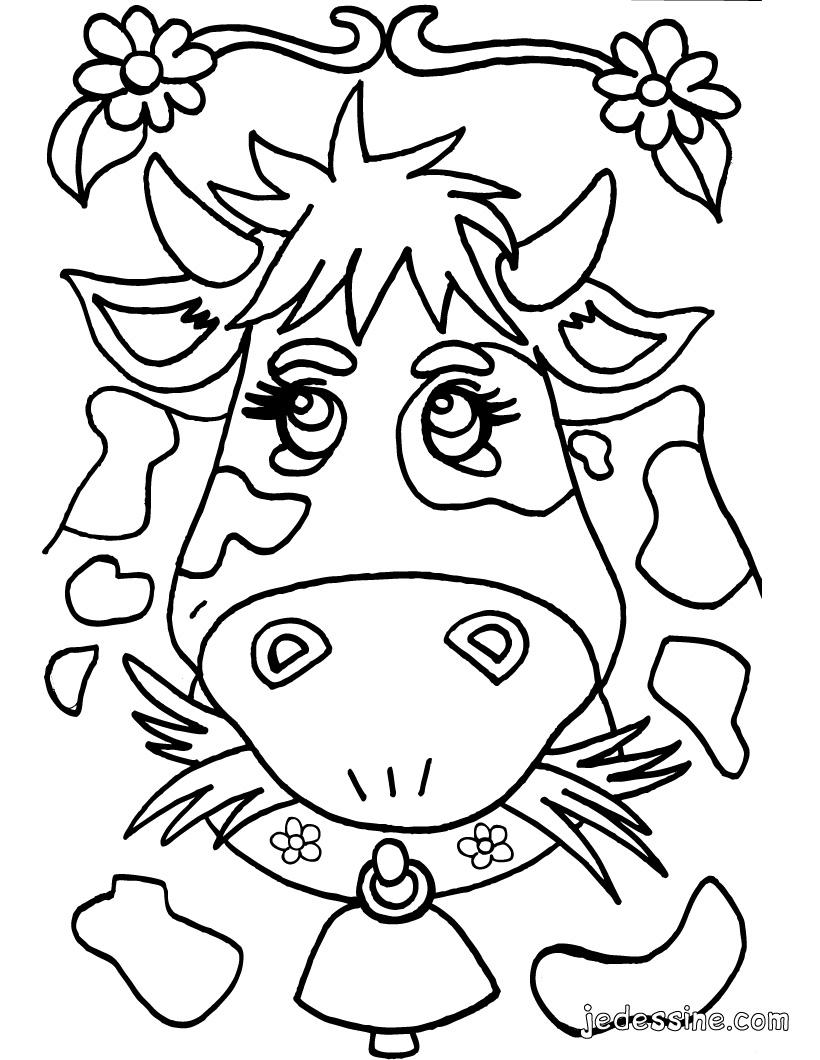 coloriage à dessiner de vache avec son veau