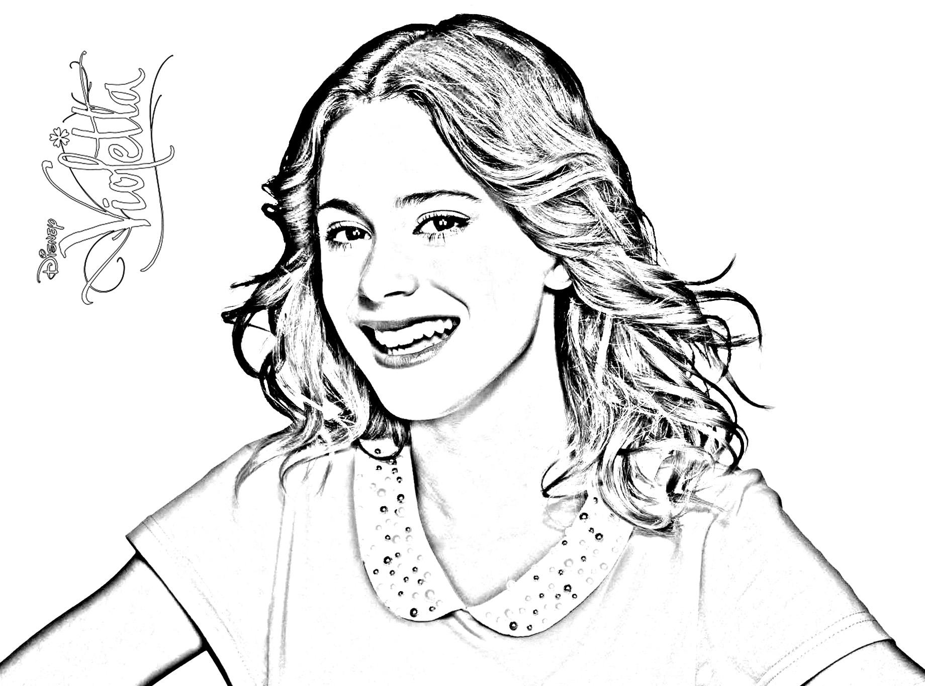 dessin à colorier de la serie violetta a imprimer