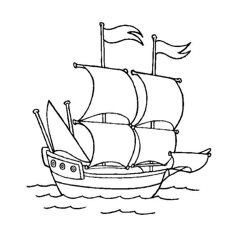 coloriage à dessiner de voilier