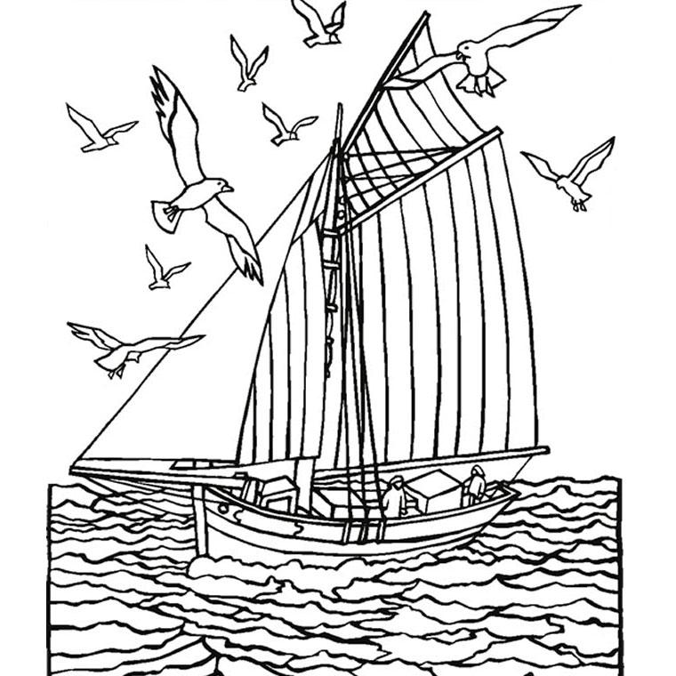 dessin à colorier d'un voilier