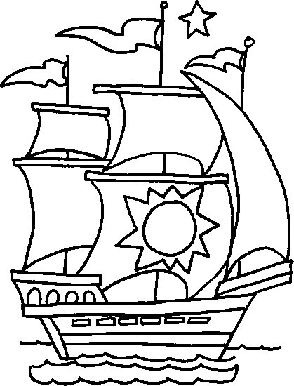 dessin à colorier bateaux voiliers