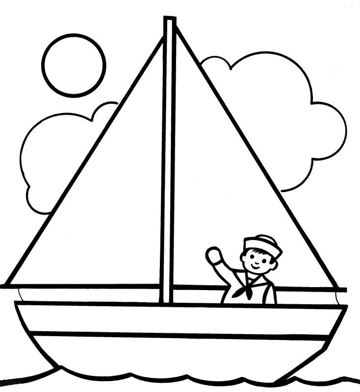 dessin � colorier petit voilier