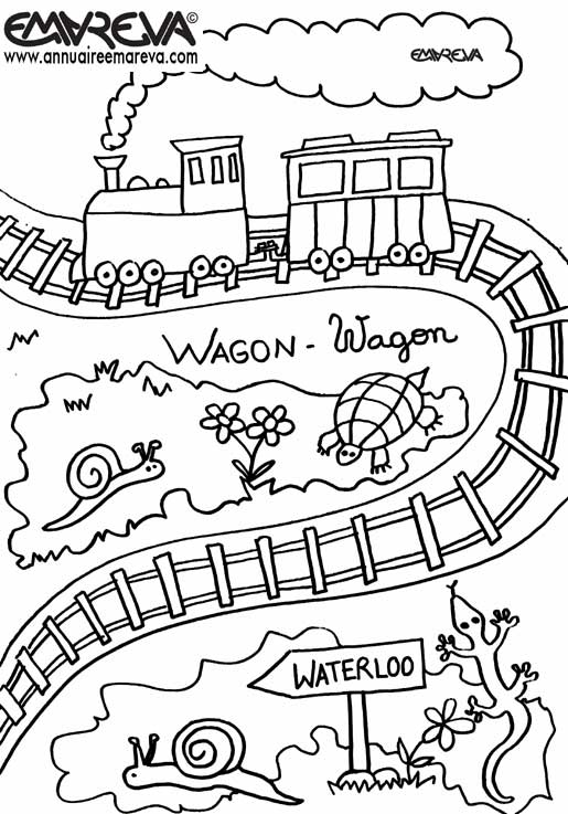 dessin � colorier train avec wagon