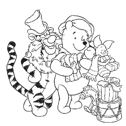 19 dessins de coloriage winnie l 39 ourson noel imprimer - Coloriage disney noel ...