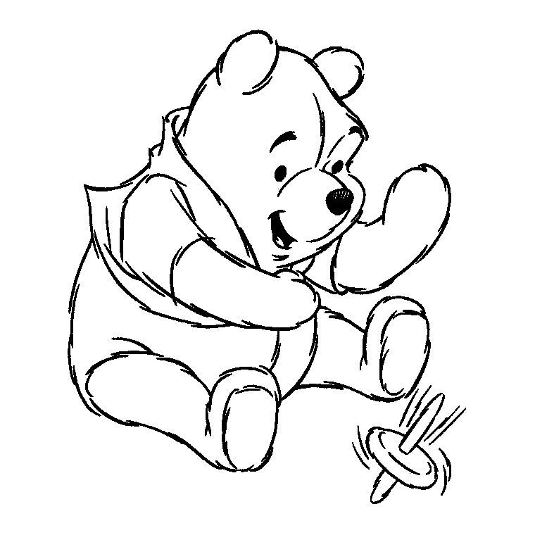 dessin à colorier winnie l'ourson anniversaire à imprimer