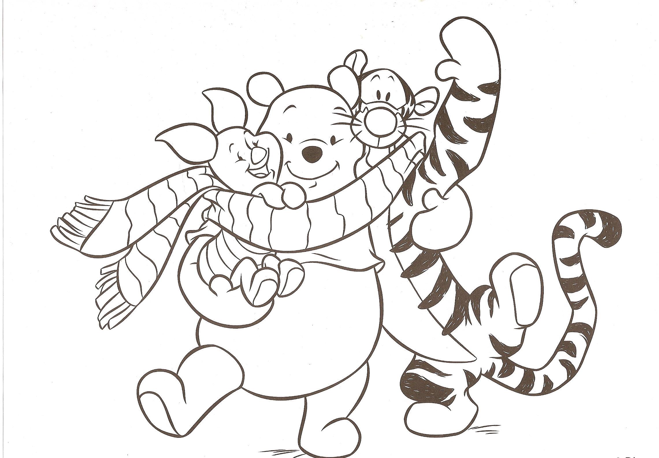 dessin à colorier de winnie l'ourson et ses amis