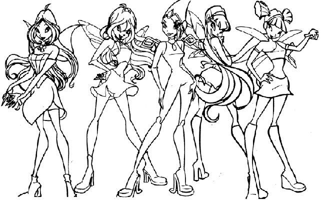 coloriage à dessiner winx club bloom