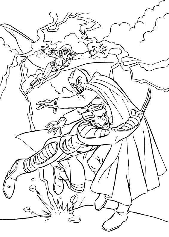 coloriage à dessiner tornade x-men