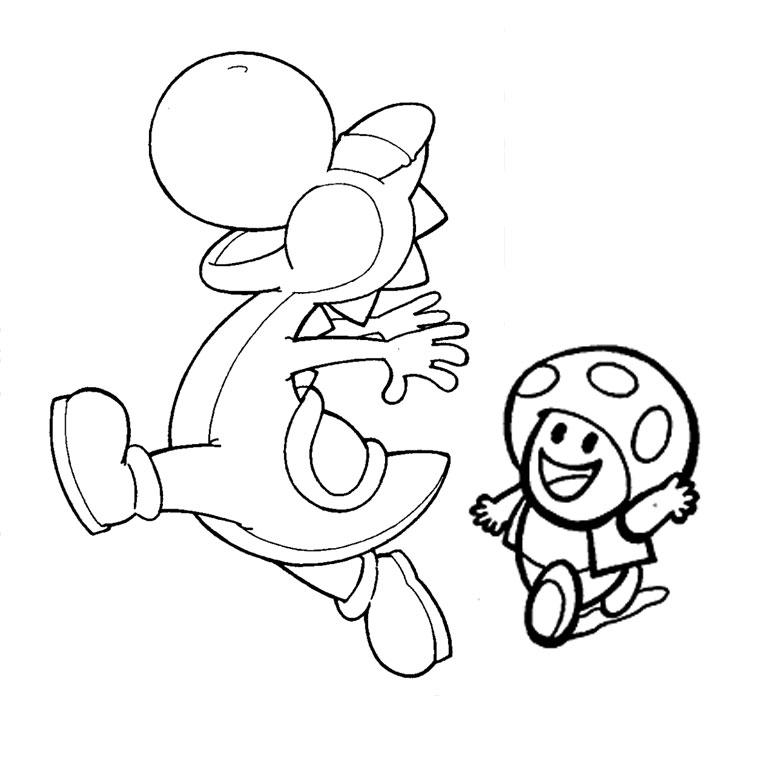 dessin à colorier yoshi et mario