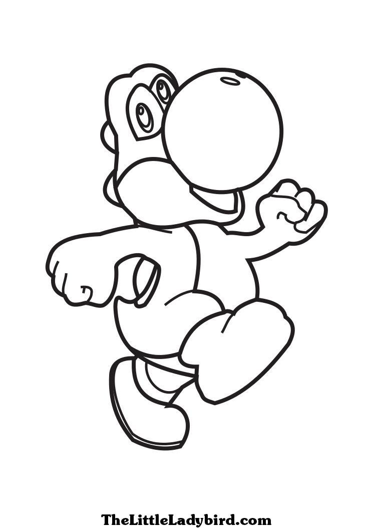 dessin à colorier yoshi et toad