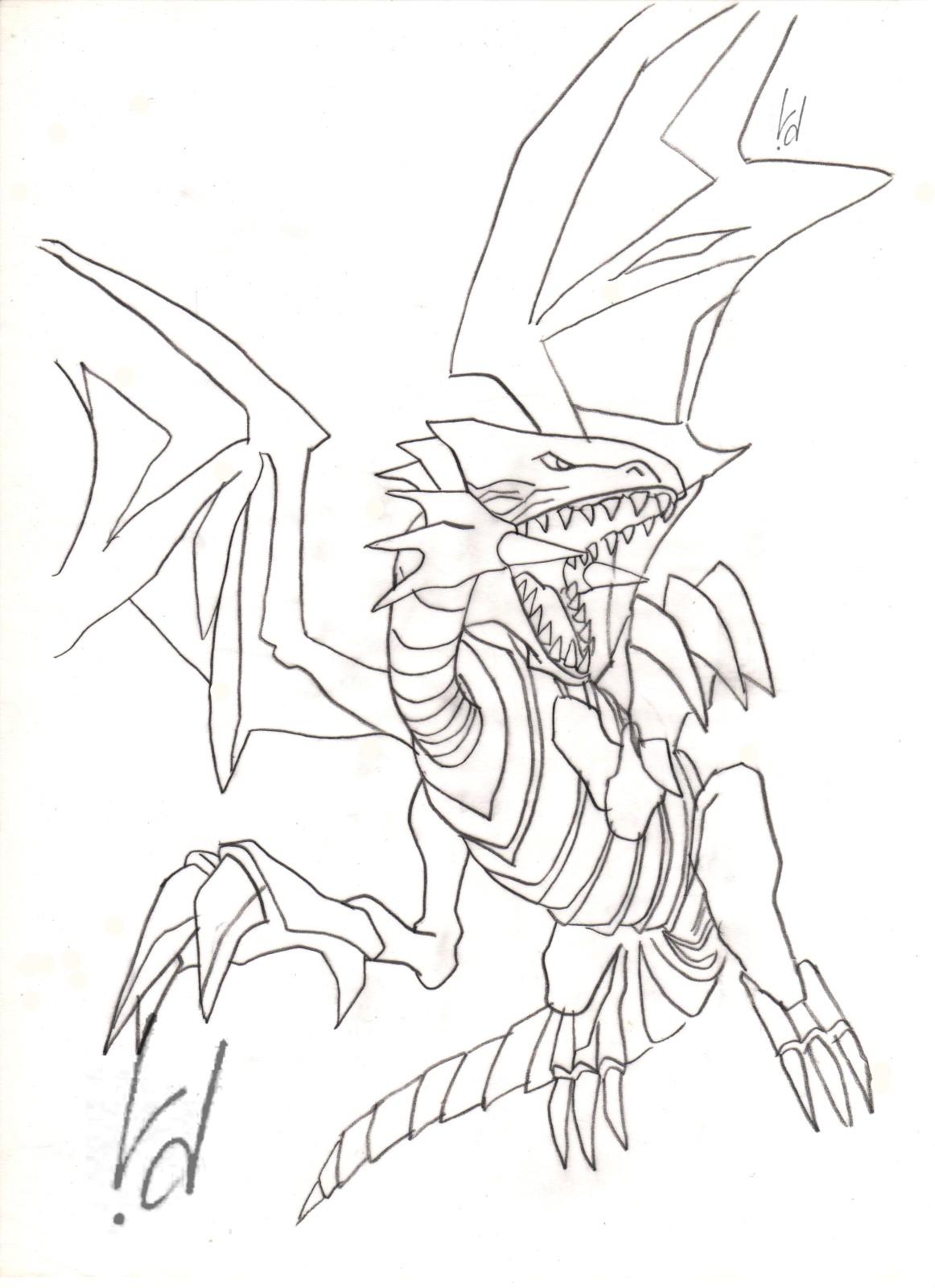 Belle Coloriage De Dragon Blanc Au Yeux Rouge Dans Yu Gi Yo 30000