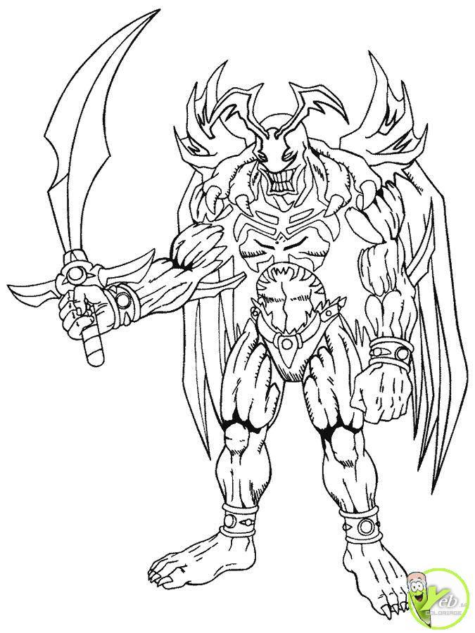 dessin à colorier yu gi oh monstre