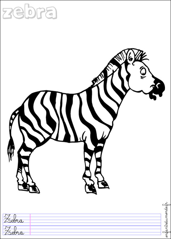 coloriage à dessiner zebre à imprimer