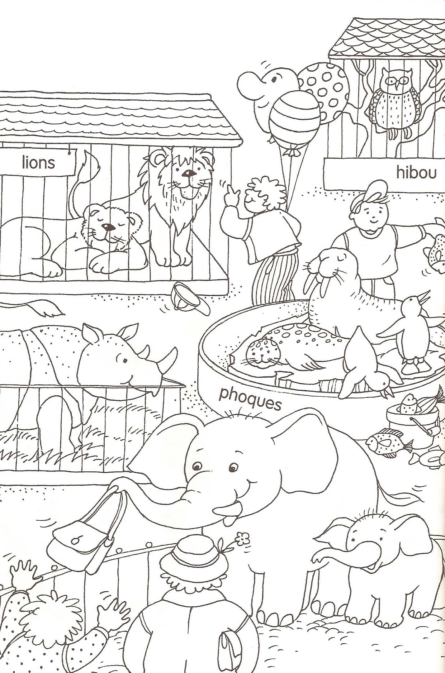 dessin à colorier hello kitty au zoo
